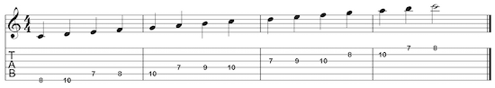 Pic-of-C_major_scale_two_octave_ascending_7th_position